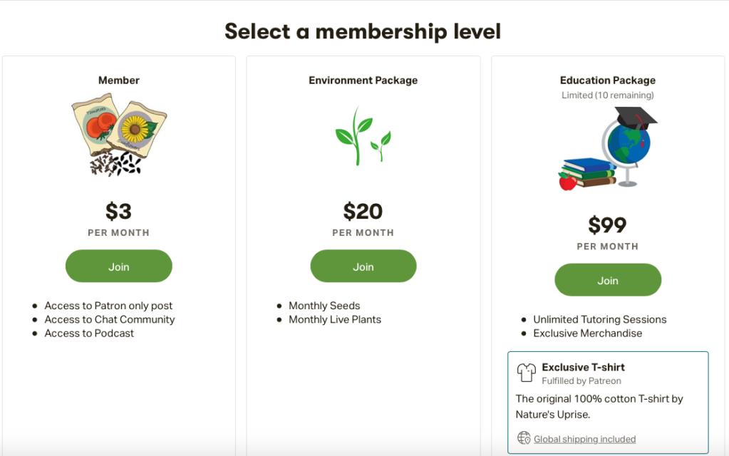 Select a membership level