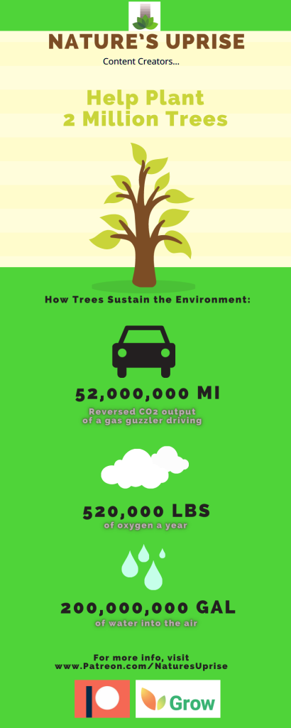 Nature's Uprise Patrons help plant trees and sustain the environment.