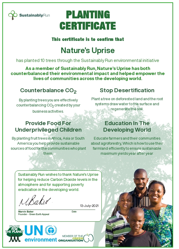 Nature's Uprise is a Sustainably Run partner! This means that they are actively working to plant life changing fruit trees in the developing world!